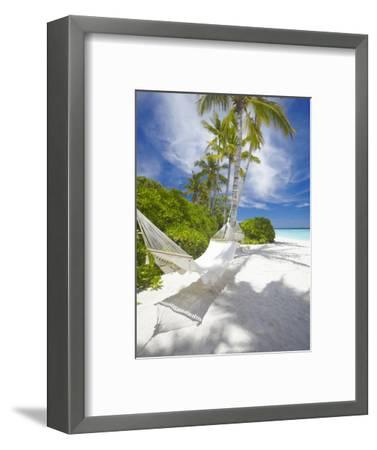 Hammock on Empty Tropical Beach, Maldives, Indian Ocean, Asia--Framed Photographic Print