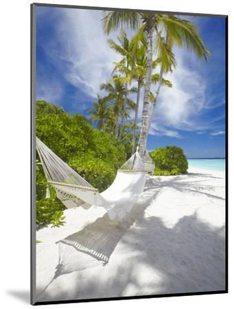 Hammock on Empty Tropical Beach, Maldives, Indian Ocean, Asia--Mounted Photographic Print