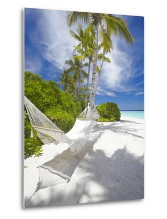 Hammock on Empty Tropical Beach, Maldives, Indian Ocean, Asia--Metal Print