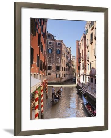 A Gondola on a Canal in Venice, UNESCO World Heritage Site, Veneto, Italy, Europe--Framed Photographic Print