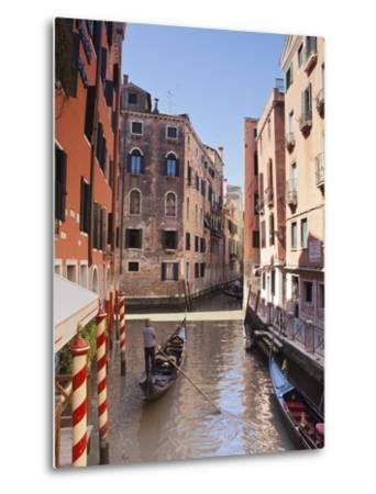 A Gondola on a Canal in Venice, UNESCO World Heritage Site, Veneto, Italy, Europe--Metal Print