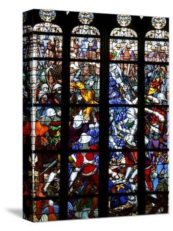Stained Glass of Joan of Arc in Sainte-Croix Cathedral, Orleans, Loiret, France, Europe--Stretched Canvas Print
