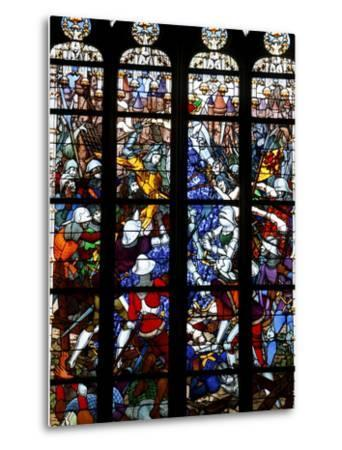 Stained Glass of Joan of Arc in Sainte-Croix Cathedral, Orleans, Loiret, France, Europe--Metal Print