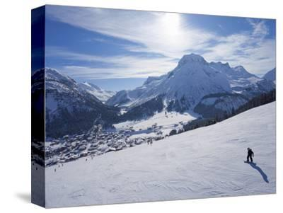 Snow-Boarder on Piste at Lech Near St. Anton Am Arlberg in Winter Snow, Austrian Alps--Stretched Canvas Print