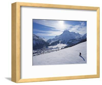 Snow-Boarder on Piste at Lech Near St. Anton Am Arlberg in Winter Snow, Austrian Alps--Framed Photographic Print