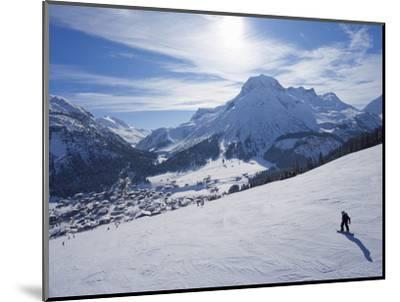 Snow-Boarder on Piste at Lech Near St. Anton Am Arlberg in Winter Snow, Austrian Alps--Mounted Photographic Print