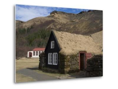 Typical Icelandic House From the Last Century, Skoga Museum, Near Skogafoss, South Iceland--Metal Print
