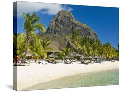 White Sand Beach of the Five Star Hotel Le Paradis, With Le Morne Brabant in Background, Mauritius--Stretched Canvas Print