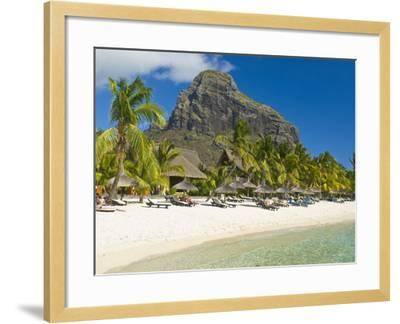 White Sand Beach of the Five Star Hotel Le Paradis, With Le Morne Brabant in Background, Mauritius--Framed Photographic Print