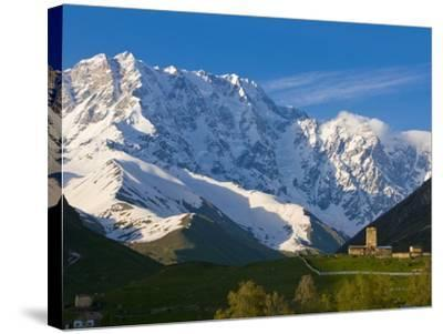 Fortified Village of Ushguli, Svanetia, in the Background Mount Shkhara, Georgia--Stretched Canvas Print