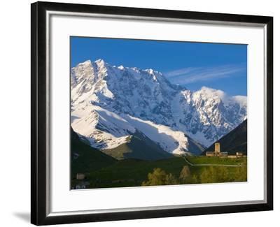 Fortified Village of Ushguli, Svanetia, in the Background Mount Shkhara, Georgia--Framed Photographic Print