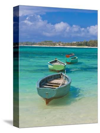 Small Fishing Boats in the Turquoise Sea, Mauritius, Indian Ocean, Africa--Stretched Canvas Print