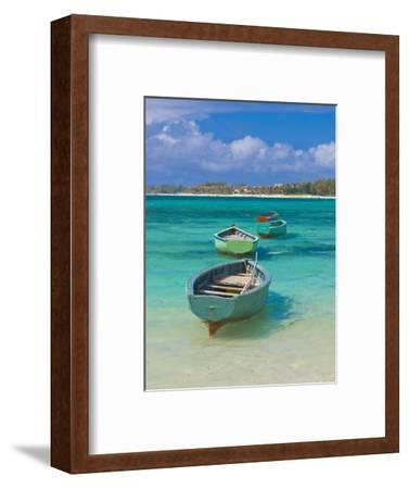 Small Fishing Boats in the Turquoise Sea, Mauritius, Indian Ocean, Africa--Framed Photographic Print