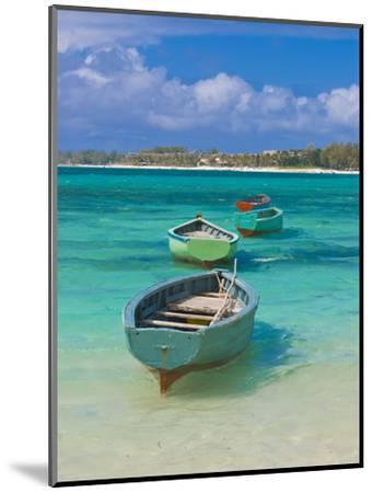 Small Fishing Boats in the Turquoise Sea, Mauritius, Indian Ocean, Africa--Mounted Photographic Print