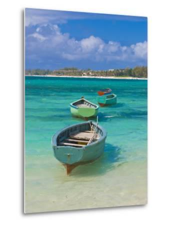 Small Fishing Boats in the Turquoise Sea, Mauritius, Indian Ocean, Africa--Metal Print