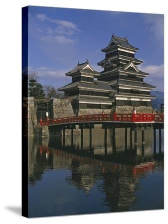 Matsumoto Castle and Moat, Nagano Ken, Japan, Asia--Stretched Canvas Print
