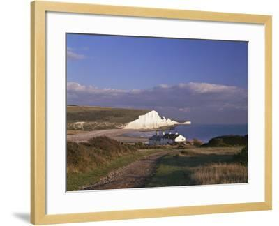 White Chalk Cliffs of the Seven Sisters at Cuckmere Haven, Seen From Near Seaford, East Sussex--Framed Photographic Print