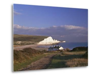 White Chalk Cliffs of the Seven Sisters at Cuckmere Haven, Seen From Near Seaford, East Sussex--Metal Print
