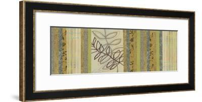 Nature's Song I - Green Stripes with Leaves-Jeni Lee-Framed Premium Giclee Print