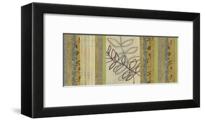 Nature's Song I - mini - Green Stripes with Leaves-Jeni Lee-Framed Premium Giclee Print