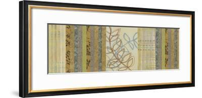 Nature's Song II - Green Stripes with Leaves-Jeni Lee-Framed Premium Giclee Print