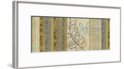 Nature's Song II - mini - Green Stripes with Leaves-Jeni Lee-Framed Premium Giclee Print