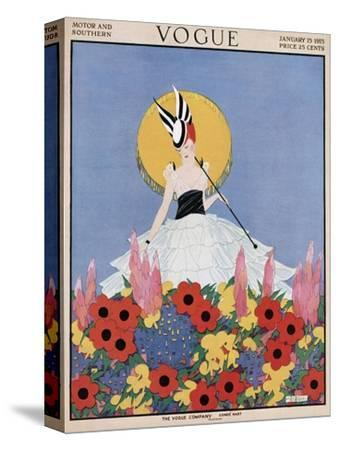 Vogue Cover - January 1915-Margaret B. Bull-Stretched Canvas Print