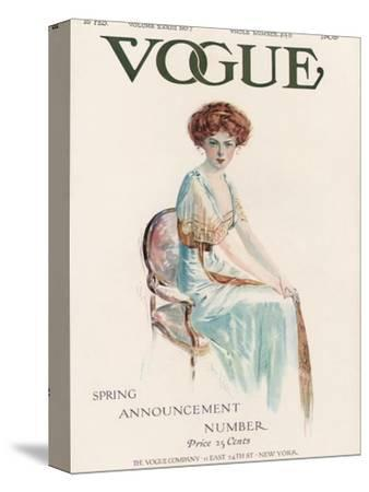 Vogue Cover - February 1909-Jean Parke-Stretched Canvas Print