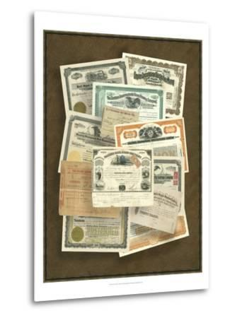 Stock Certificate Collection--Metal Print