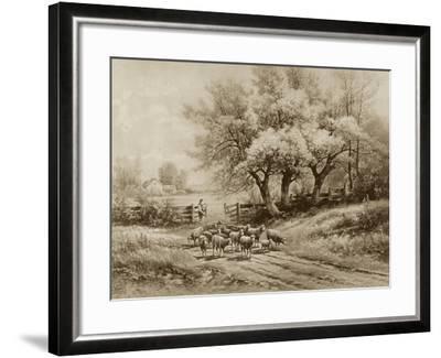 Herding Sheep-Carl Weber-Framed Art Print