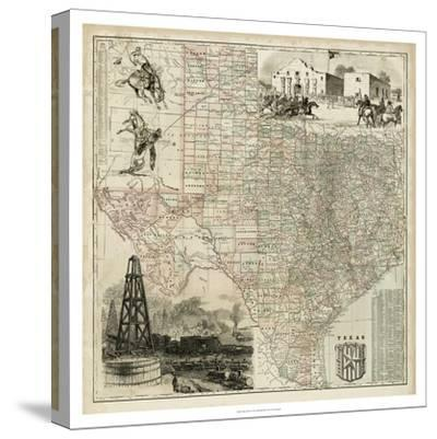 Map of Texas--Stretched Canvas Print