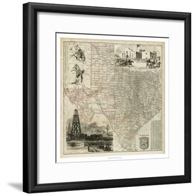 Map of Texas--Framed Premium Giclee Print