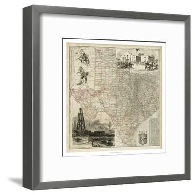 Map of Texas--Framed Art Print