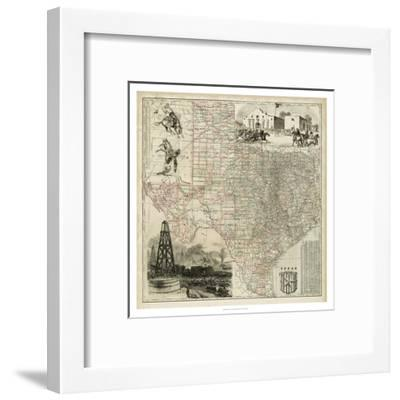 Map of Texas--Framed Art Print