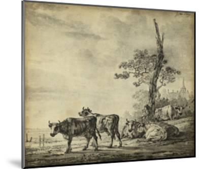 Pastoral Etching I--Mounted Art Print