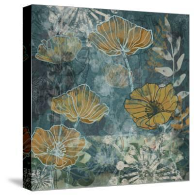 Navy Poppies II-Maria Woods-Stretched Canvas Print
