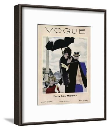Vogue Cover - October 1927-Pierre Mourgue-Framed Premium Giclee Print