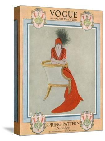 Vogue Cover - March 1912-Arthur Finley-Stretched Canvas Print