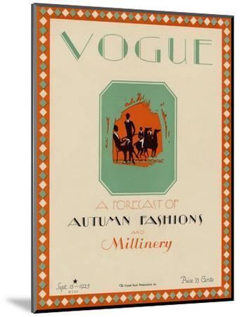 Vogue Cover - September 1925-Libiszewski-Mounted Premium Giclee Print