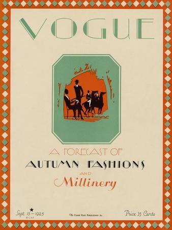 Vogue Cover - September 1925-Libiszewski-Stretched Canvas Print