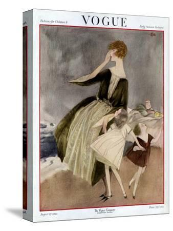 Vogue Cover - August 1922-Henry R. Sutter-Stretched Canvas Print