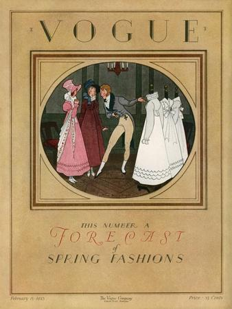 Vogue Cover - February 1923-Pierre Brissaud-Stretched Canvas Print
