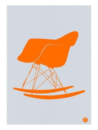 Orange Eames Rocking Chair-NaxArt-Stretched Canvas Print