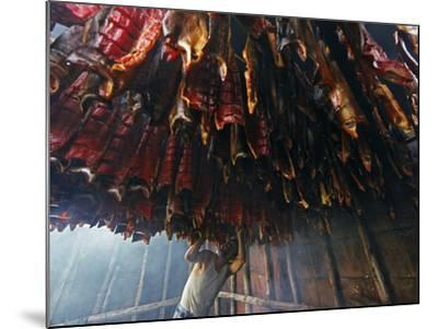 A Fisherman Checks the Salmon in His Smokehouse for Dryness-Michael Melford-Mounted Photographic Print