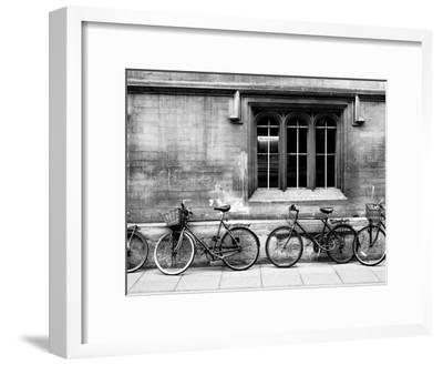 A Row of Bikes Leaning Against an Old School Building in Oxford, England-Keith Barraclough-Framed Photographic Print