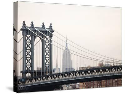 Empire State Building and Manhattan Bridge from the Brooklyn Bridge-Keith Barraclough-Stretched Canvas Print