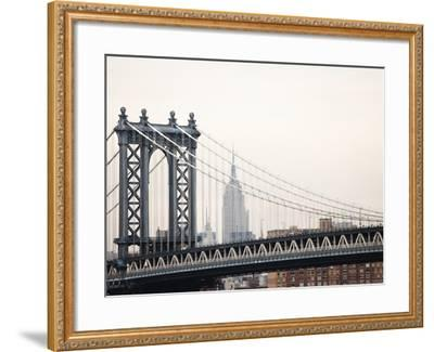 Empire State Building and Manhattan Bridge from the Brooklyn Bridge-Keith Barraclough-Framed Photographic Print