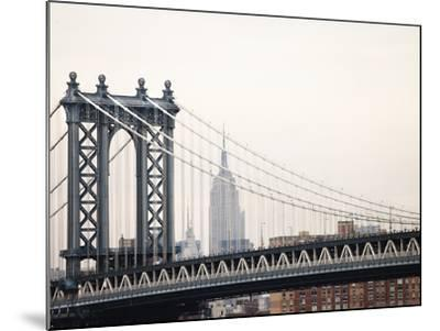 Empire State Building and Manhattan Bridge from the Brooklyn Bridge-Keith Barraclough-Mounted Photographic Print