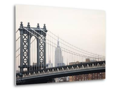 Empire State Building and Manhattan Bridge from the Brooklyn Bridge-Keith Barraclough-Metal Print