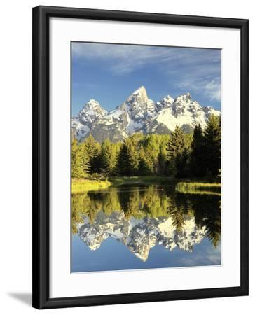 Reflections of Grand Teton Mountain in the Snake River-Robbie George-Framed Photographic Print